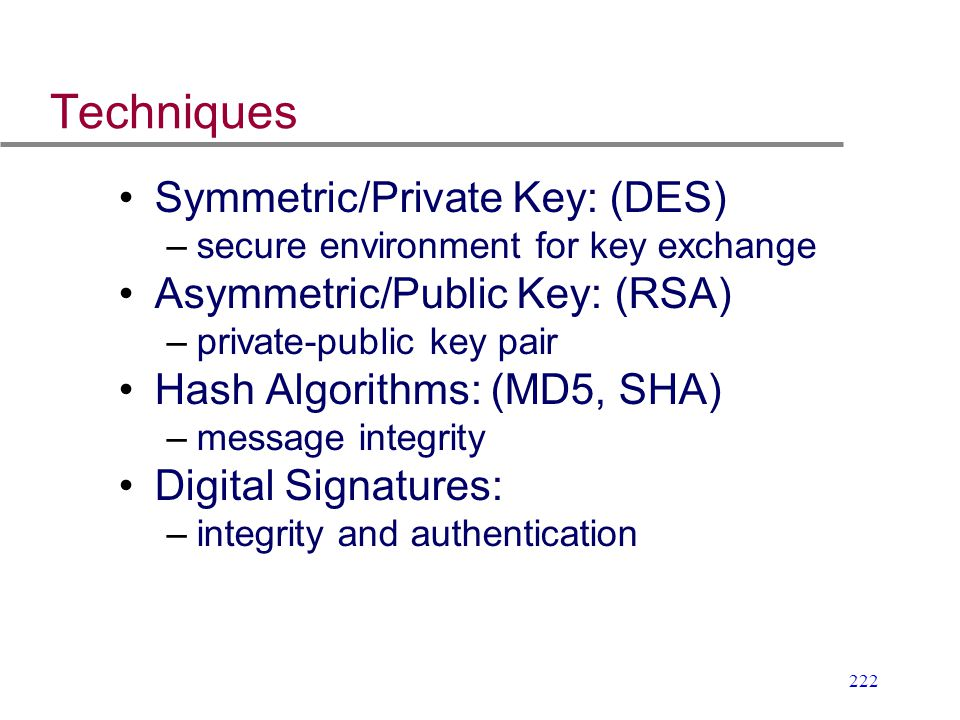 Techniques Symmetric/Private Key: (DES) Asymmetric/Public Key: (RSA)