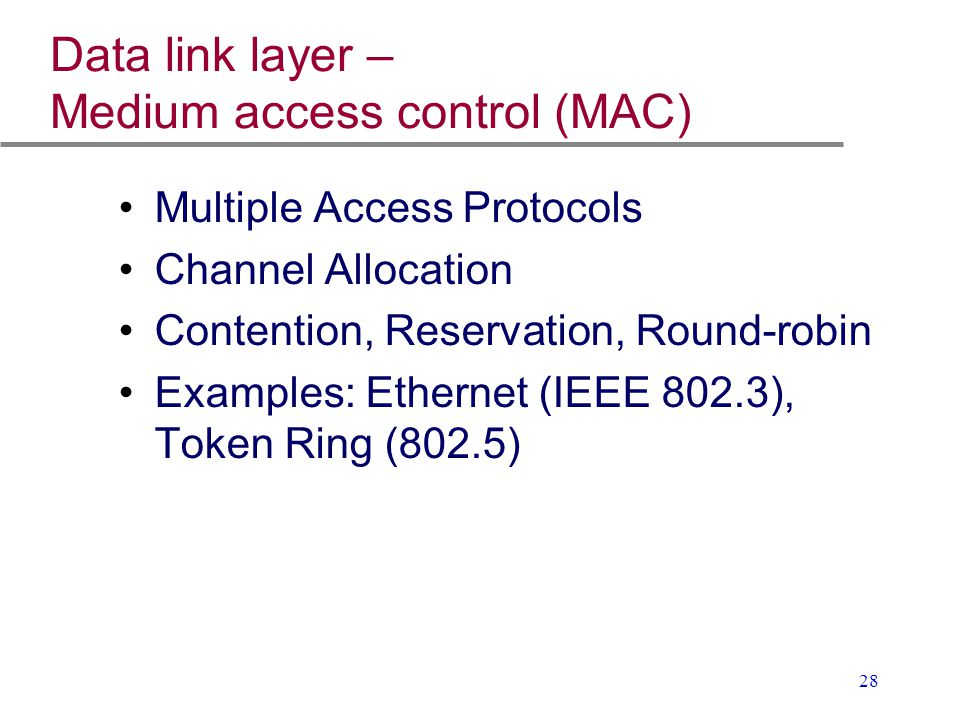 Data link layer – Medium access control (MAC)