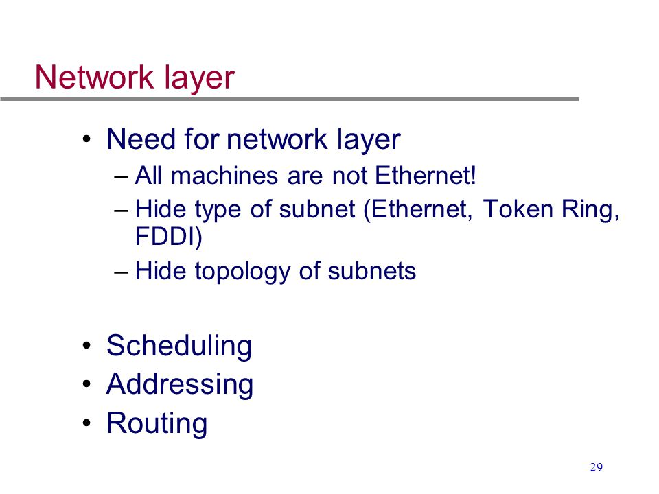 Network layer Need for network layer Scheduling Addressing Routing