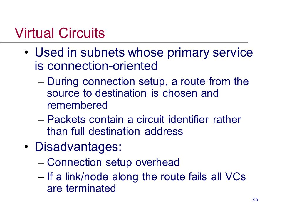 Virtual Circuits Used in subnets whose primary service is connection-oriented.