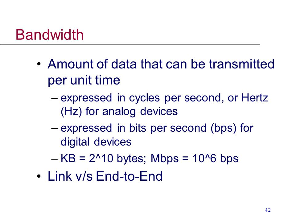 Bandwidth Amount of data that can be transmitted per unit time