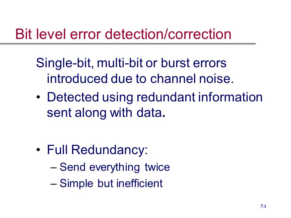 Bit level error detection/correction