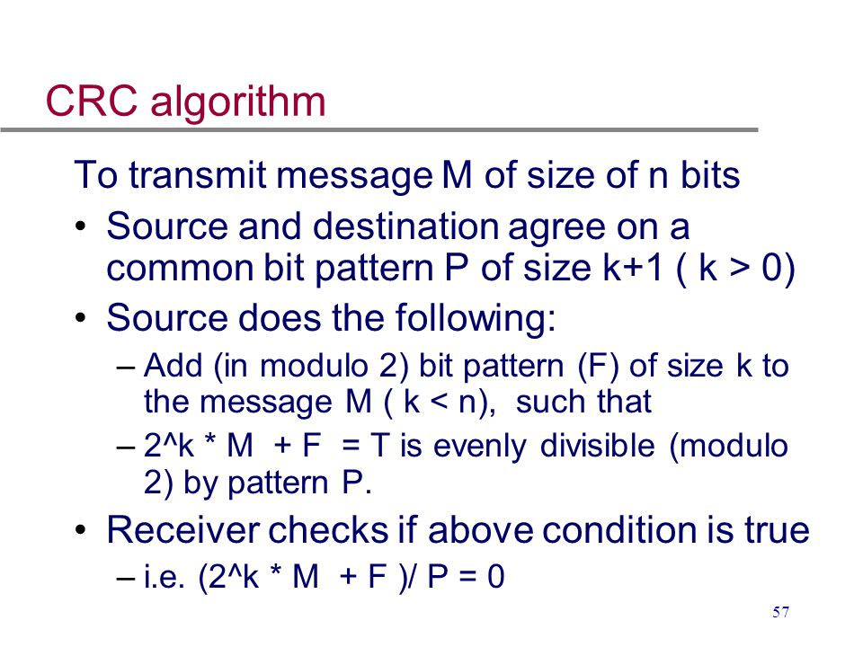 CRC algorithm To transmit message M of size of n bits