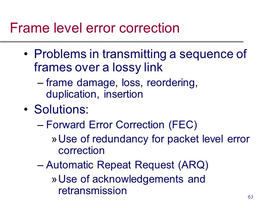 Frame level error correction