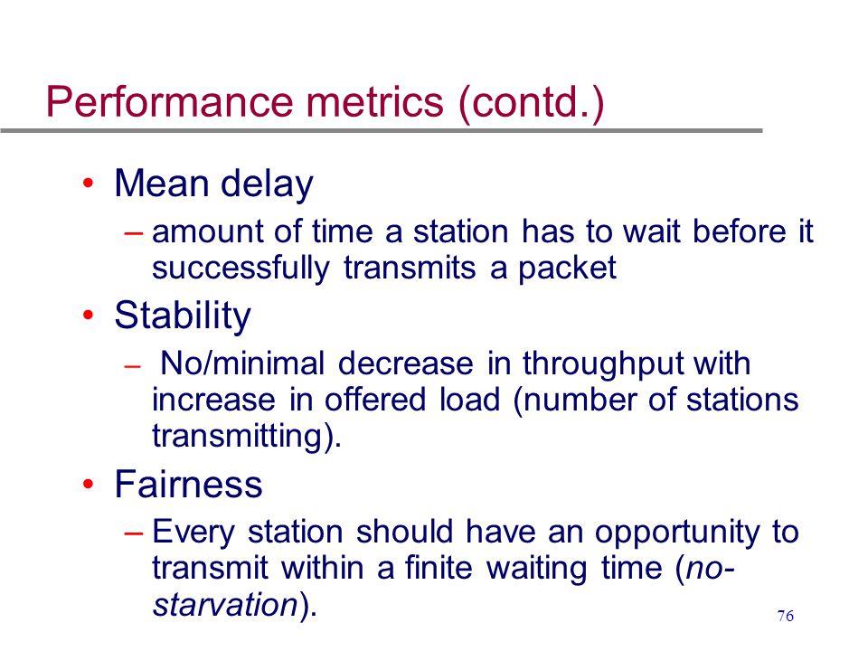 Performance metrics (contd.)