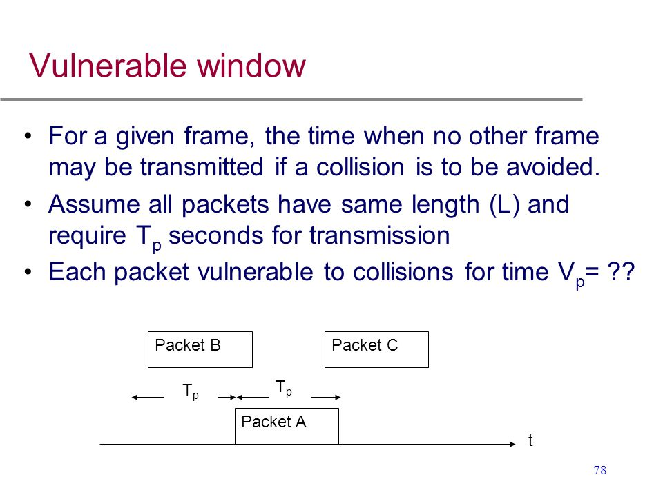 Vulnerable window For a given frame, the time when no other frame may be transmitted if a collision is to be avoided.