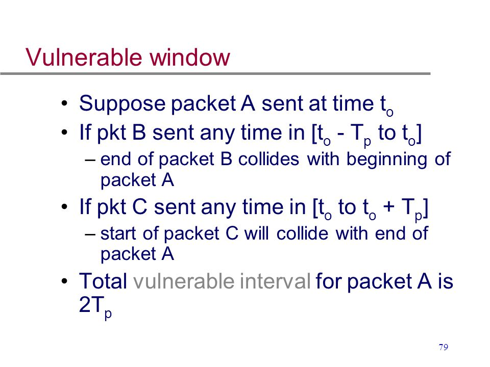 Vulnerable window Suppose packet A sent at time to