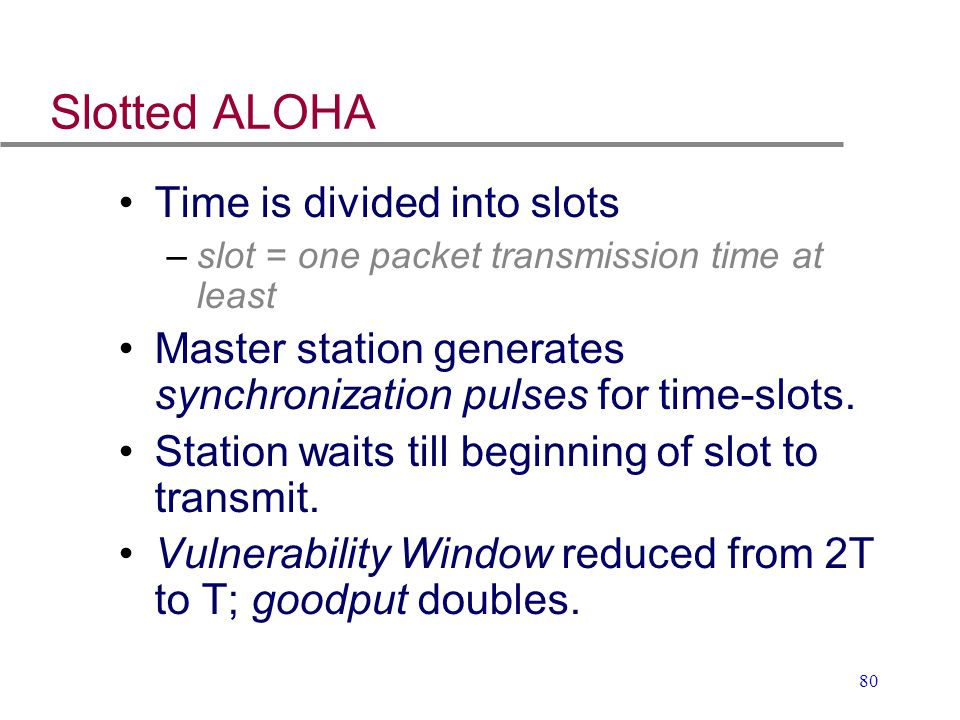 Slotted ALOHA Time is divided into slots