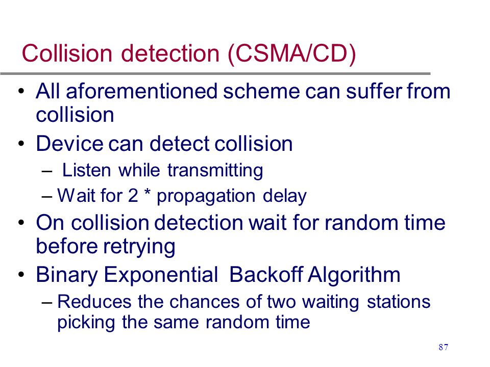 Collision detection (CSMA/CD)