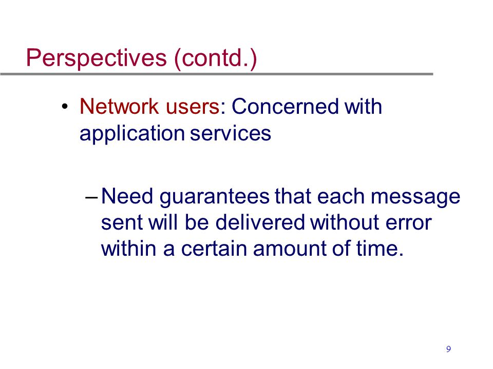 Perspectives (contd.) Network users: Concerned with application services.