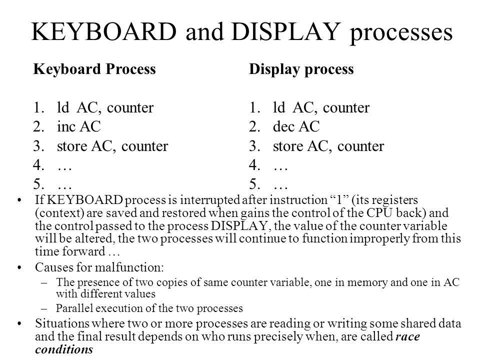 KEYBOARD and DISPLAY processes