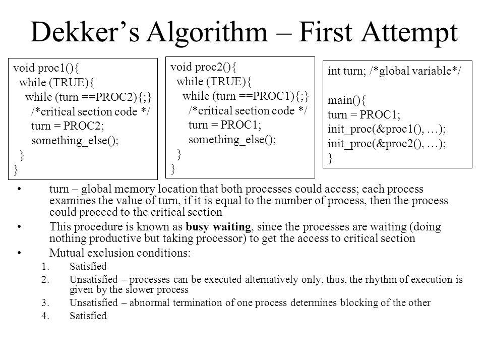 Dekker's Algorithm – First Attempt