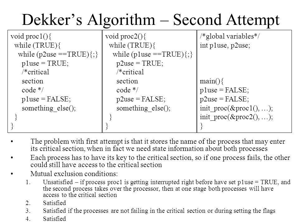 Dekker's Algorithm – Second Attempt