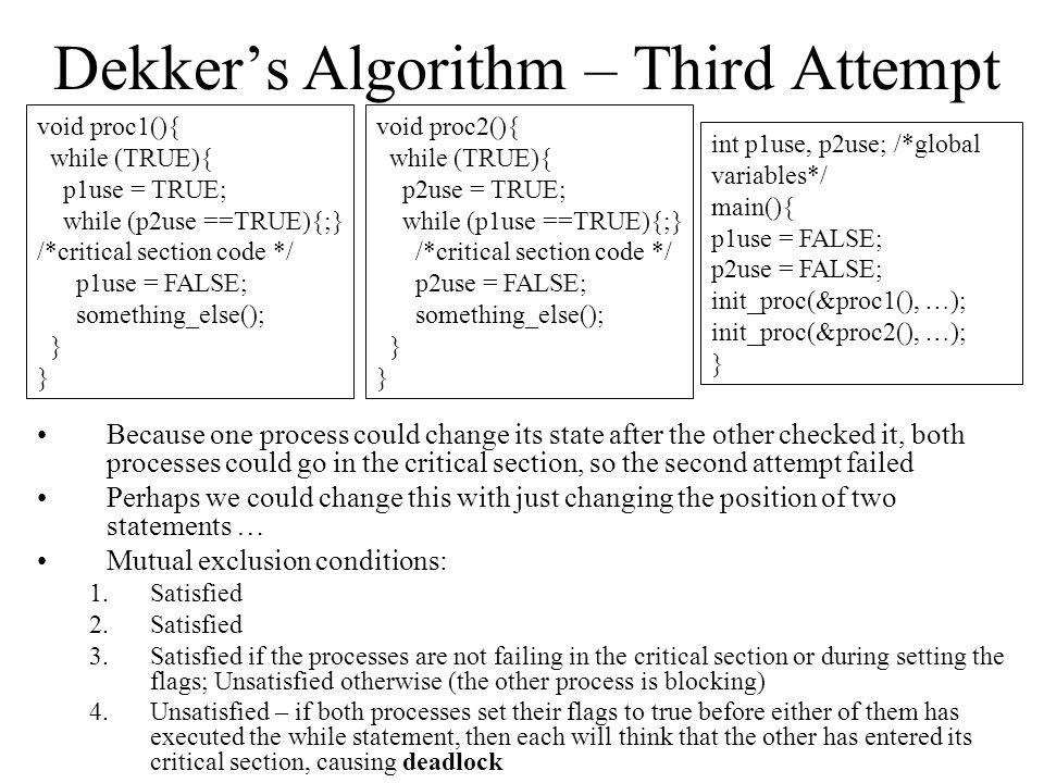 Dekker's Algorithm – Third Attempt