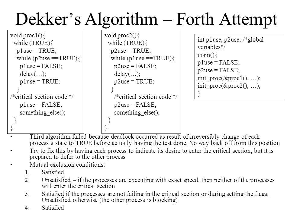Dekker's Algorithm – Forth Attempt