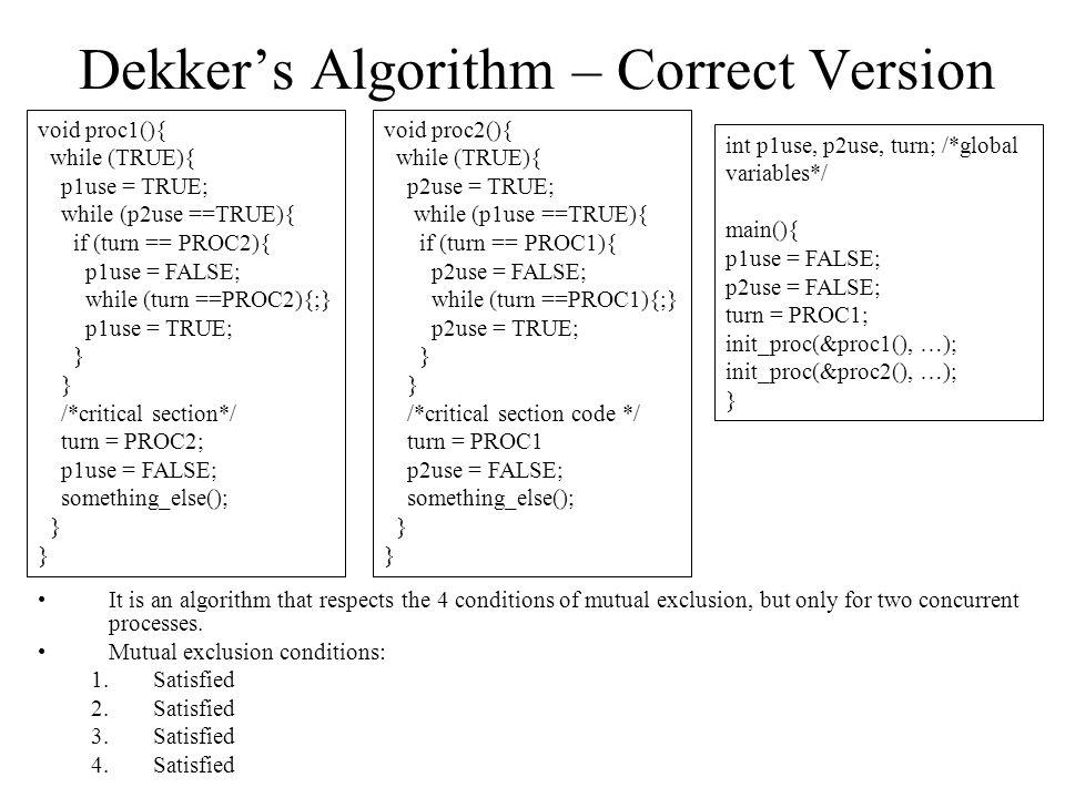 Dekker's Algorithm – Correct Version