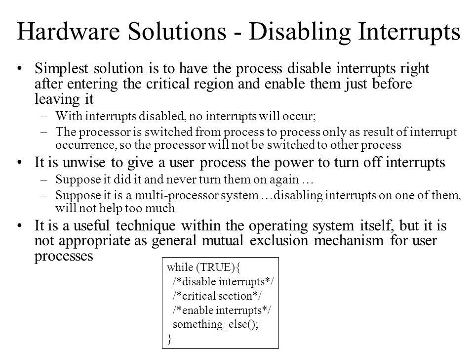 Hardware Solutions - Disabling Interrupts