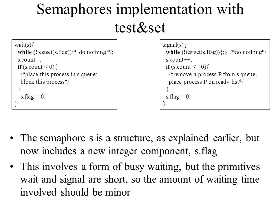 Semaphores implementation with test&set