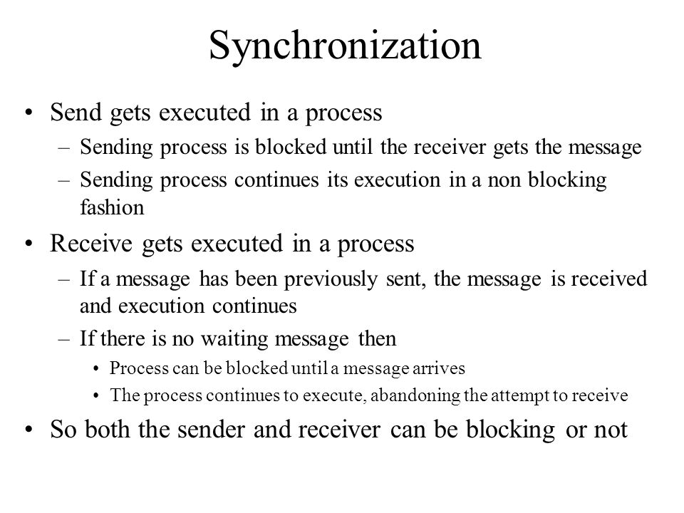 Synchronization Send gets executed in a process