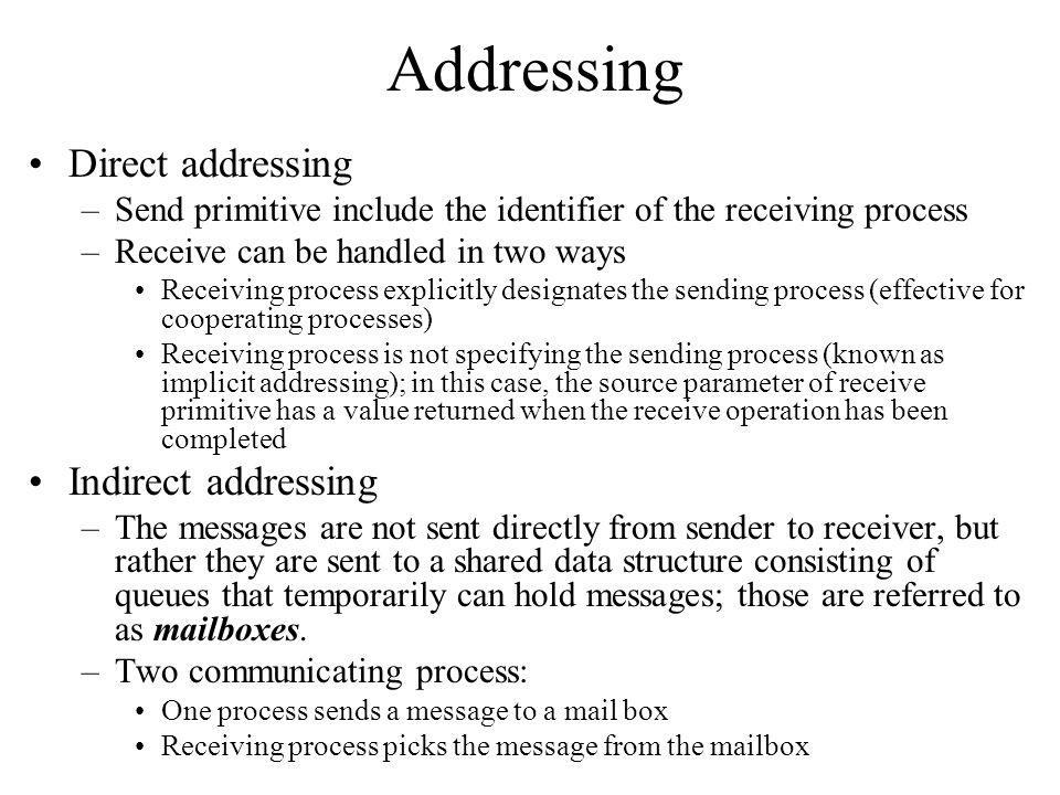Addressing Direct addressing Indirect addressing