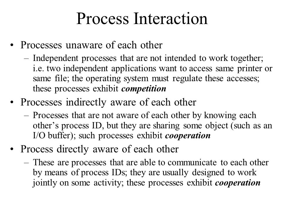 Process Interaction Processes unaware of each other