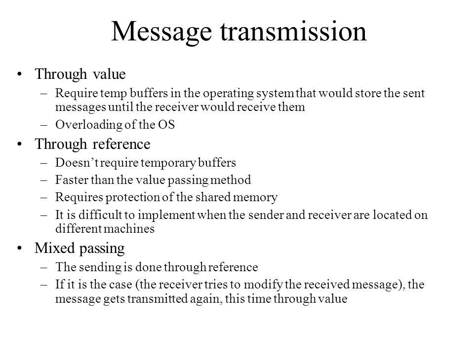 Message transmission Through value Through reference Mixed passing