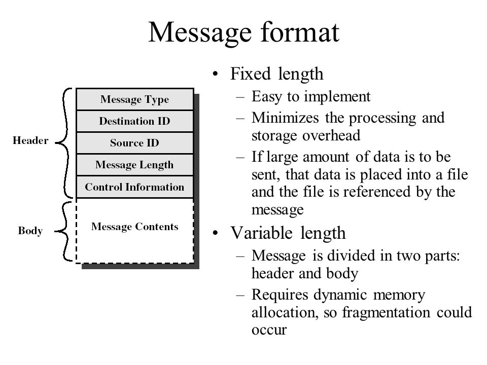 Message format Fixed length Variable length Easy to implement