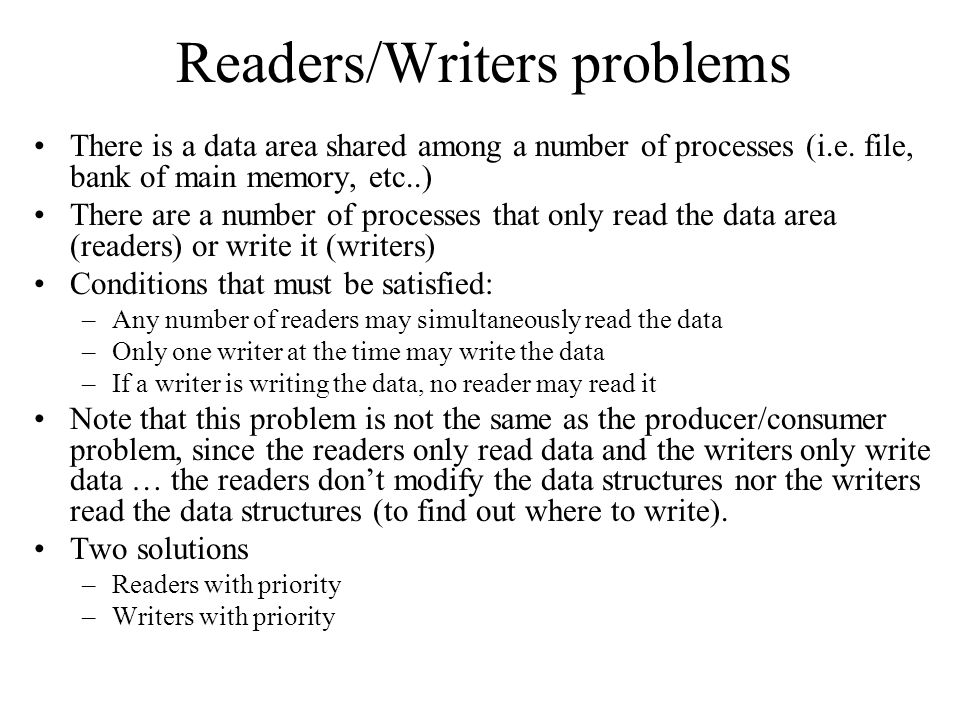 Readers/Writers problems