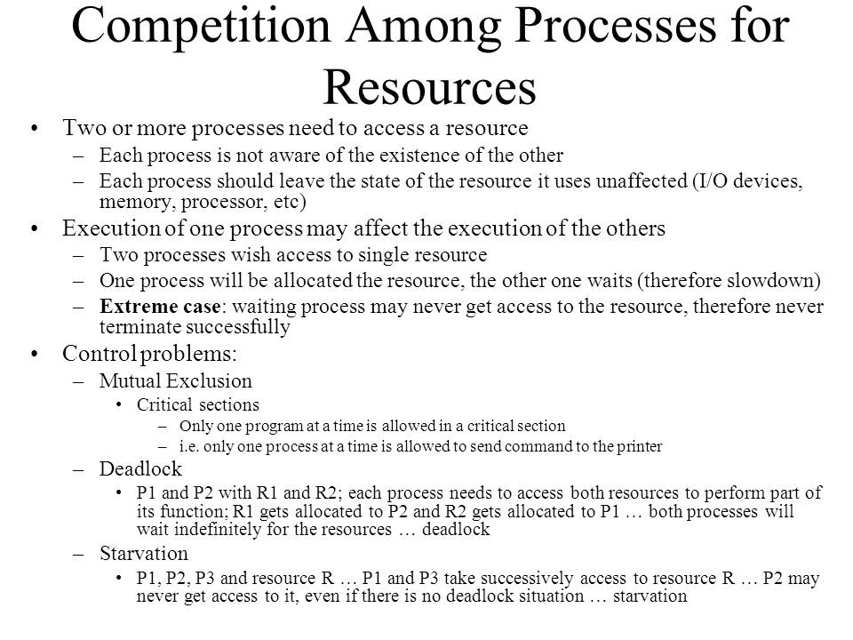 Competition Among Processes for Resources