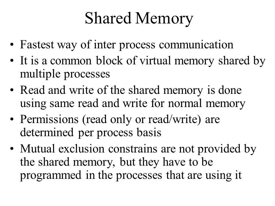 Shared Memory Fastest way of inter process communication