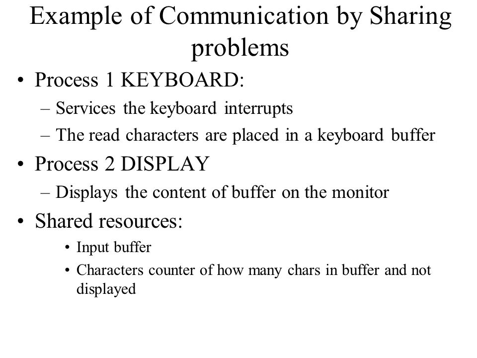 Example of Communication by Sharing problems