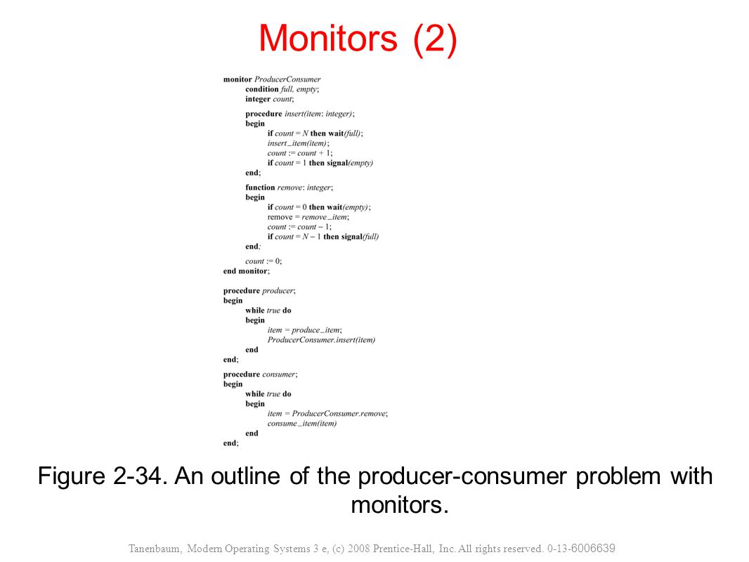 Monitors (2) Figure 2-34. An outline of the producer-consumer problem with monitors.