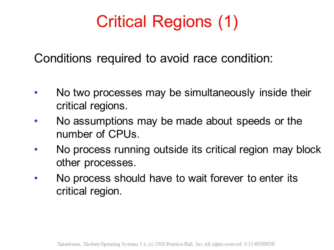 Critical Regions (1) Conditions required to avoid race condition: