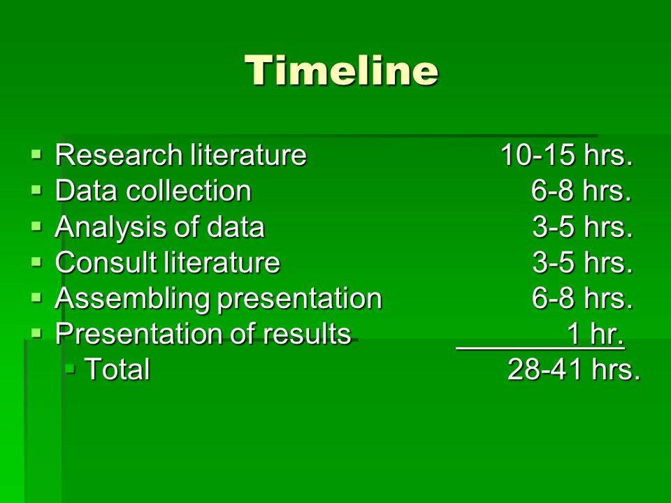 Timeline Research literature 10-15 hrs. Data collection 6-8 hrs.