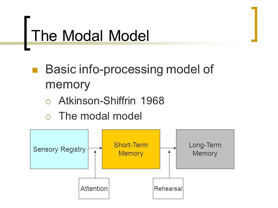 The Modal Model Basic info-processing model of memory