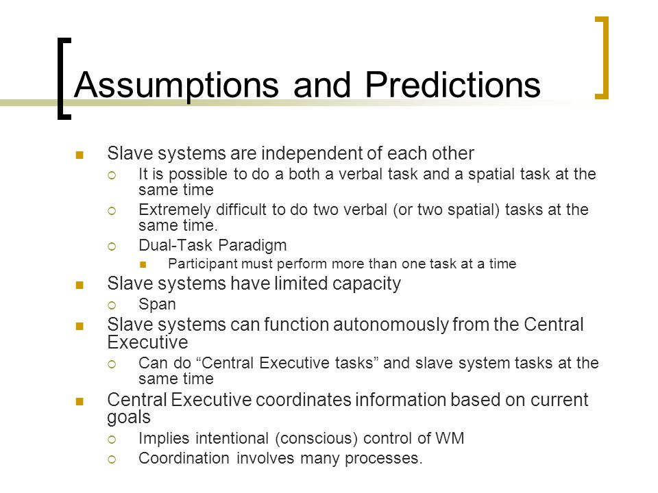 Assumptions and Predictions