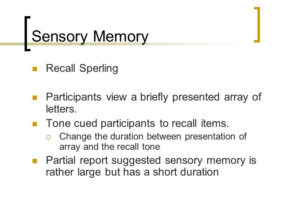 Sensory Memory Recall Sperling