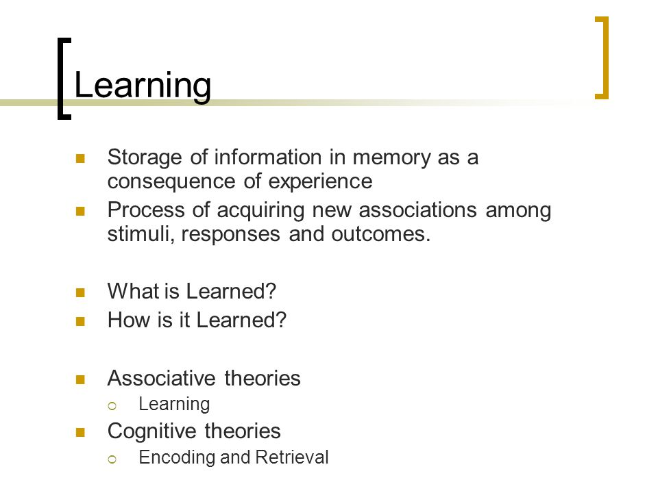 Learning Storage of information in memory as a consequence of experience.