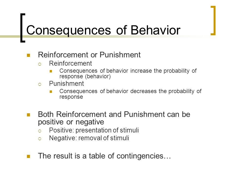 Consequences of Behavior