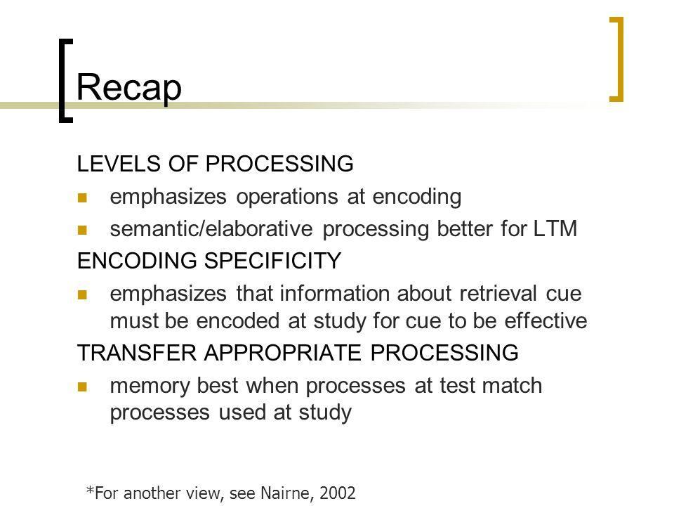 Recap LEVELS OF PROCESSING emphasizes operations at encoding