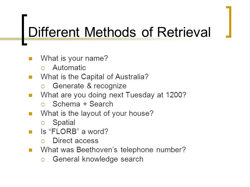 Different Methods of Retrieval