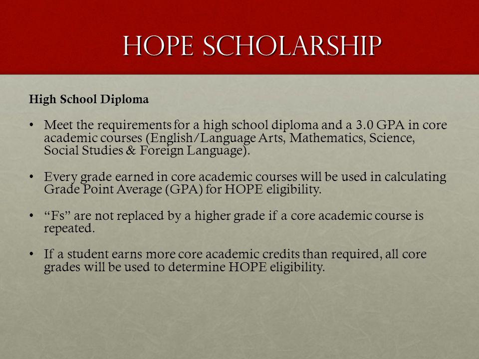 HOPE Scholarship High School Diploma.