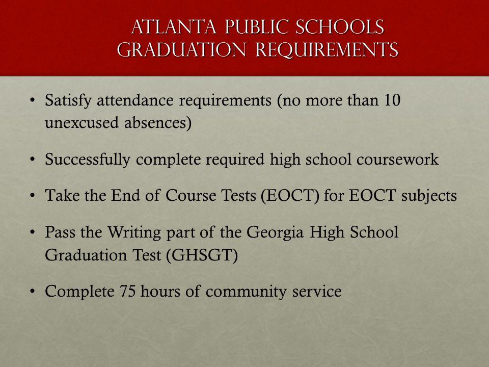 Atlanta Public Schools Graduation Requirements