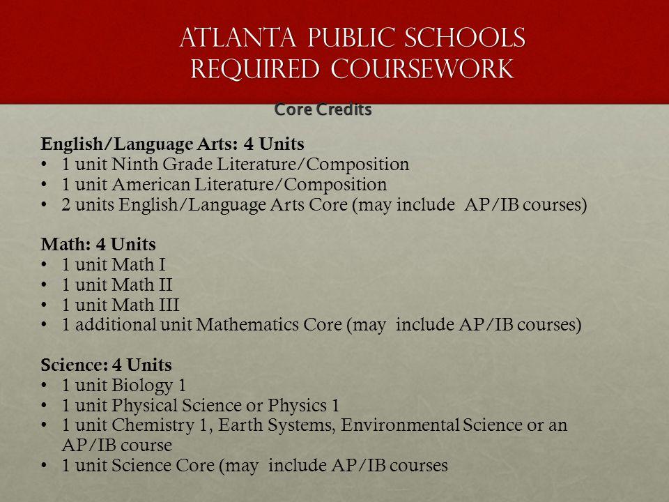 Atlanta Public Schools Required Coursework