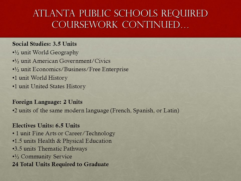 guidance and counseling team ppt video online  atlanta public schools required coursework continued