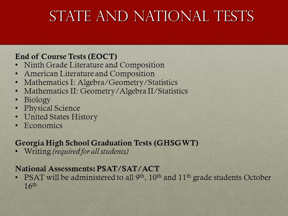 State and National Tests
