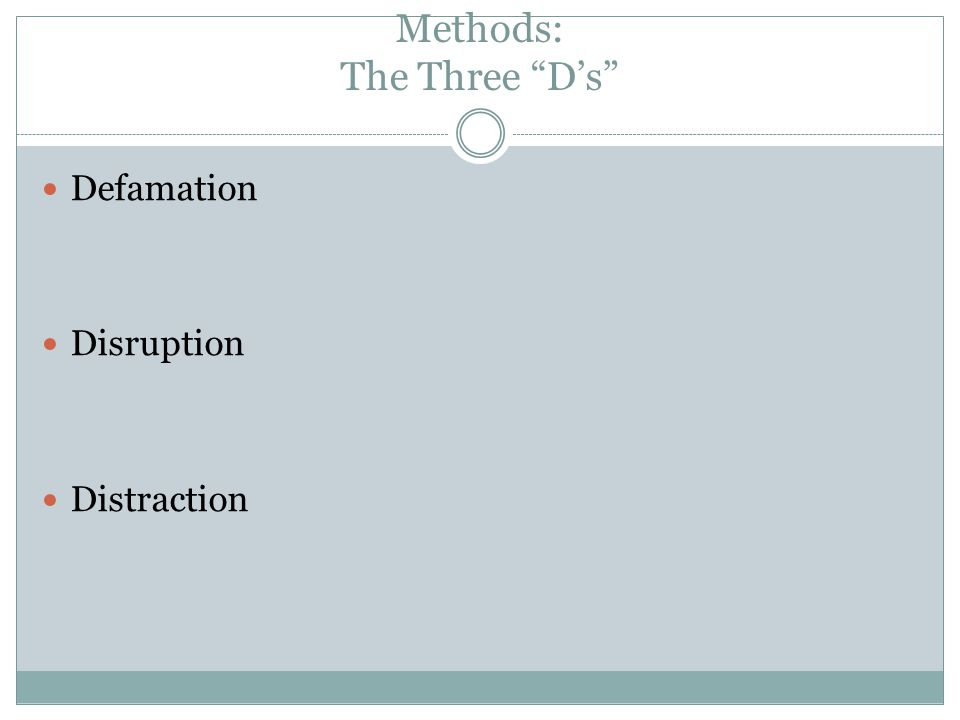 Methods: The Three D's