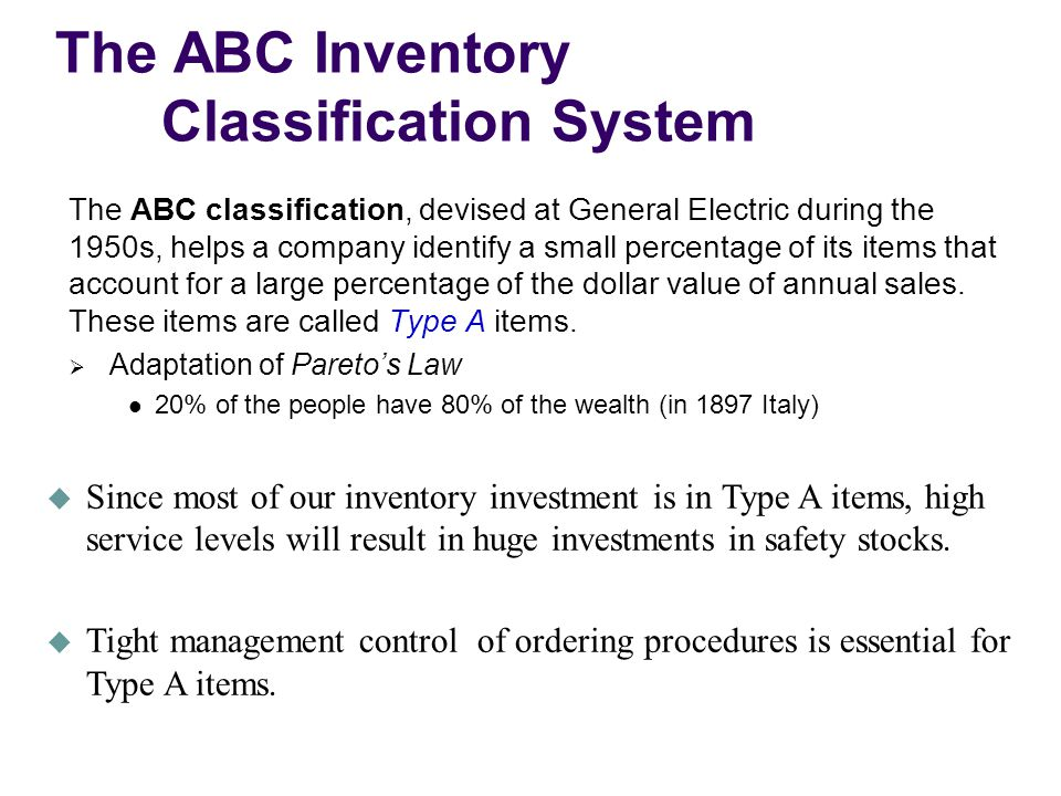 The ABC Inventory Classification System