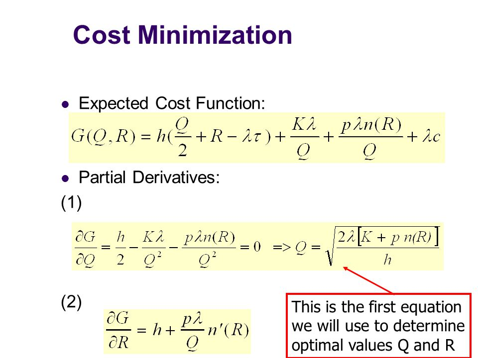 Cost Minimization Expected Cost Function: Partial Derivatives: (1) (2)
