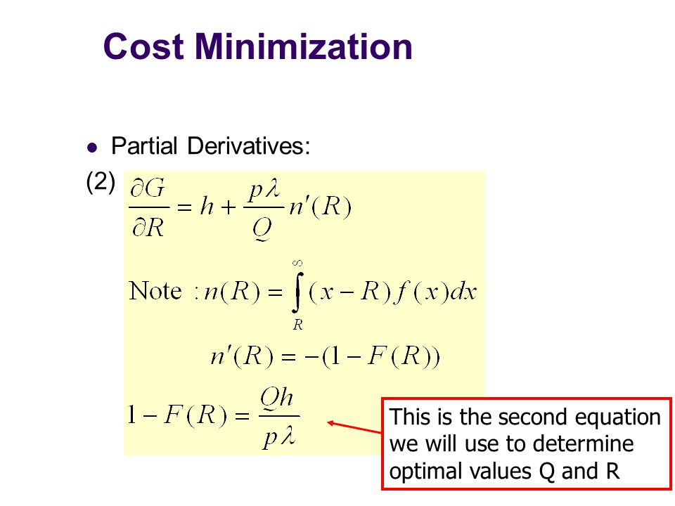 Cost Minimization Partial Derivatives: (2) This is the second equation